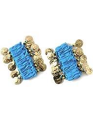 la danse du ventre bracelet de chaîne de main bijoux à la main bracelets avec des pièces de couleur or (la paire) en bleu clair NOUVEAU