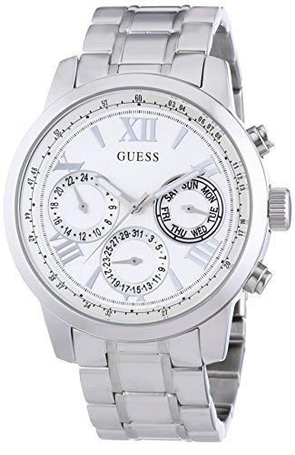 Guess Women's W0330L3 Quartz Watch with Silver Dial Chronograph Display and Silver Stainless Steel Bracelet