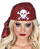 erdbeerloft - Piraten Kostüm stabile Kappe Kopftuch mit Totenschädel Kostüm , Rot