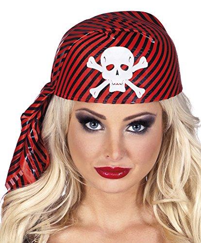 erdbeerloft - Piraten Kostüm stabile Kappe Kopftuch mit Totenschädel Kostüm , Rot (Keira Knightley Piraten Der Karibik Kostüme)