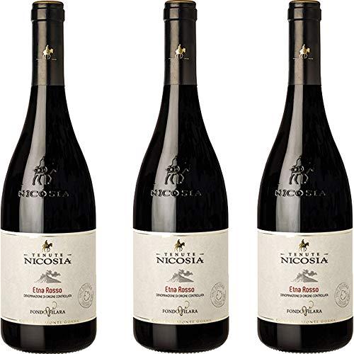 Etna Rosso Fondo Filara | Biologico | Tenute Nicosia | Vino Rosso Doc della Sicilia | Confezione 3 Bottiglie da 75 Cl | Idea Regalo