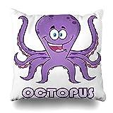 Zierkissenbezüge, Decorative Throw Pillow Covers, Aquarium Happy Purple Octopus Beach Mascot Character Adorable Parks Aquatic Design Cute Home Decor Pillowcase Square Size 18