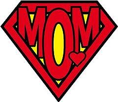 Idea Regalo - 1art1 Festa della Mamma - Super Mom Logo Sticker Adesivo (9 x 9cm)
