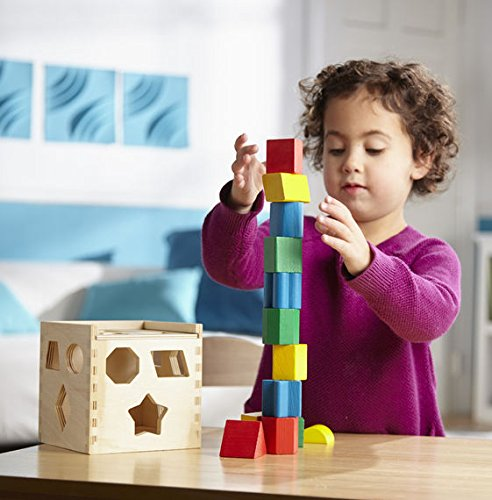 Melissa & Doug 10575 Shape Sorting Cube - Classic Wooden Toy With 12 Shapes