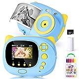 Macchina Fotografica per Bambini 1080P 30FPS, Macchina Fotografica Istantanea Full HD con 15MP, LCD da 2.4 Pollici, 8G Scheda di memoria, Bambini Fotocamera Digitale Portatile, Fotocamera Istantanea