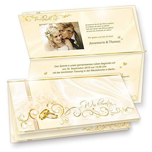 Einladung Hochzeit PERLMUTTEFFEKT (10 Sets) selbst bedruckbar, Einladungskarten Set - 10 Karten + 10 Umschläge