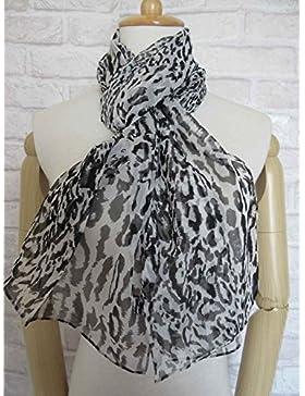 Mujer&Negro Blanco NUEVO Leopard 100%Seda Bufanda larga