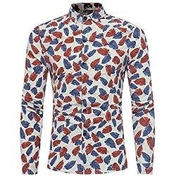 IYFBXl Camisa de algodón de tamaño asiático para Hombre - Cuello de Camisa de Lunares, Beige, XXXL