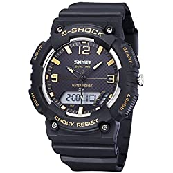 Skmei® Black Mens Analog-Digital Dual Time Sport Watches with LED Backligh Display #370603