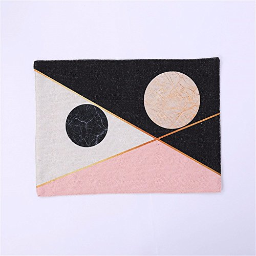 XXSZKAA Creative Géométrique Modèle Abstrait Table Tissu Mat Tissu Nordic Rose Antler Table Mat Double Rectangulaire Isolation Pad Western Couverts Mat Table Bol Mat Coaster, A1, 40 * 28Cm