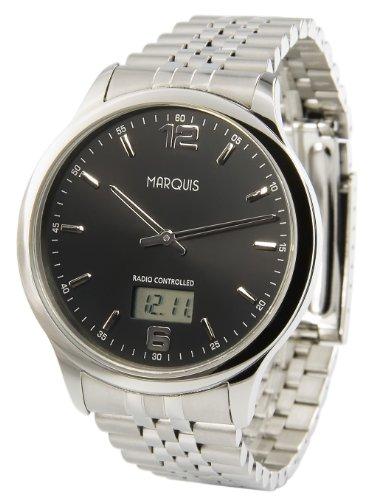 MARQUIS Herren Funkuhr, Gehäuse und Armband aus Edelstahl, Armbanduhr, Junghans-Uhrwerk 964.6123
