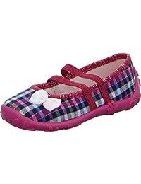 girlZ onlY Ballerina Hausschuh Mädchen Karomuster Süße Schleife Rutschhemmend Gummiert Textil Pink/Blau Atmungsaktive Laufsohle