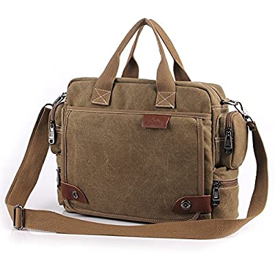 Yilooom Solid Khaki Casual Vintage Multifunction Trunk Men's Canvas Travel Crossbody Shoulder Messenger Bag Handbag for Men