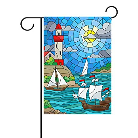 Duble Face vitrail trois navires et d'une Shore Phare coloré Cloud Sky Soleil Polyester Maison Jardin Drapeau Bannière 12x 18/71,1x 101,6cm pour fête de mariage tous les temps, Polyester, multicolore, 28x40