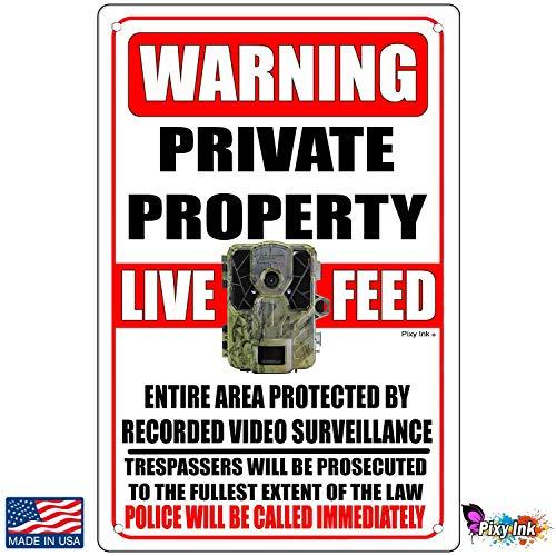 Tarfy Private Property Trail Camera Live Feed Video Recording Retro Weinlese-Blechschild-Dekorations-Bar-Kaffee-Café-Nachmittagstee-Grill-Geschäft -