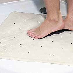 Crystals Non Slip Bath Shower Rubber Mat Bathtub Insert with Suction Cups in Square and Rectangular Shape Mat by (Square Shape Mat)