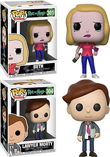 Funko POP! Rick & Morty: Beth + Lawyer Morty – Stylized Vinyl Figure