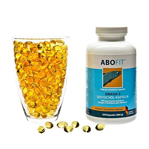 ABOFit Omega 3 Kapseln hochdosiert aus Deutschland, 1000 mg Fischöl pro Tagesdosis, kein Fischgeschmack, 370 Kapseln (260g) - Fisch-Öl-tabletten