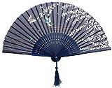 niceeshop(TM) Blau Schmetterling und Weiß Blume Muster Spitze Bambus Faltbar Handfächer
