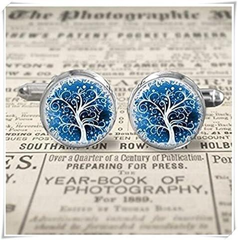 Boutons de manchette–Bleu Arbre de vie–Boutons de manchette–choisissez la taille et finition–Bronze Argenté