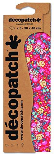 Decopatch Papier No. 751 (rot Blumenranke, 395 x 298 mm) 3er Pack