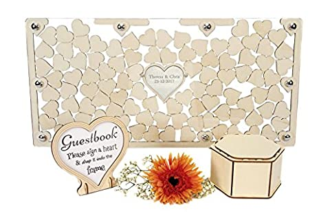 wedding guestbook personalised wooden heart dropbox keepsake gift (Acrylic, Large)