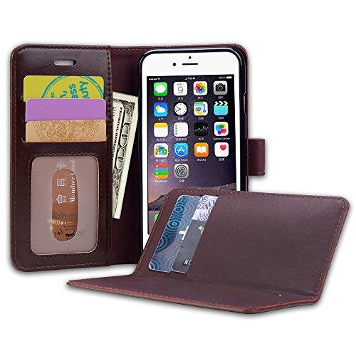 iPhone 6 Hülle, 6S Schutzhülle, SHANSHUI Kunstleder TPU Handyhülle mit Magnetverschluss und Kartenfach (Braun) Braun