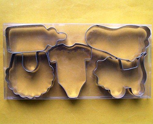 Baby Thema Cookie Cutter Flasche Lätzchen Einteiler Buggy Schnuller Biscuit Edelstahl Fondant Form zum Backen Set
