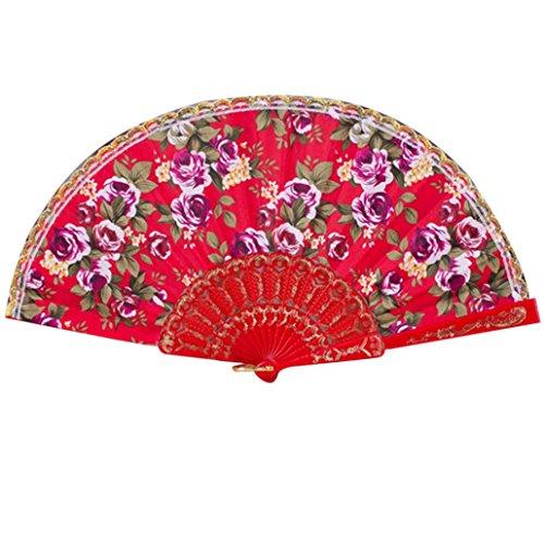 FNKDOR Stoff Falten Handgehaltener Blumenfächer Handventilator Faltbare Fan (Muster Tanzabend Kostüme)