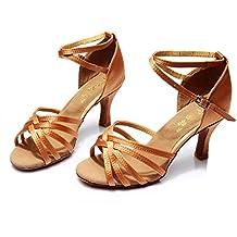 Scarpe Professionista Latino Della Ragazza Delle Donne Satin Sandali  Superiore Salsa / Ballroom Dance Shoe Med