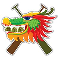SkyBug Dragon & Rice Dumpling Design Bumper Sticker Vinyl Art Decal for Car Truck Van Wall Window (24 X 24 cm)