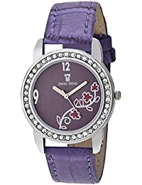 Swiss Trend Crystal Studded Purple Dial Humble Analogue Watch For Women's