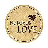 24 Aufkleber Handmade with Love I dv_047 I Ø 4cm I auf einem DIN A4 Bogen I Sticker beige creme Vintage für Geschenktüten Banderole Gastgeschenk