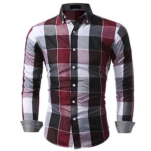Blusa de Hombre BaZhaHei Camisetas de Cuadros Ocasionales de otoño de los Hombres Camisa de Manga Larga...