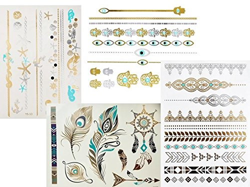 4 + 1 Bögen Metallic Tattoo Set Cali Türkis Flash Tattoo Aufkleber Hübsche Schmuck Tattoos