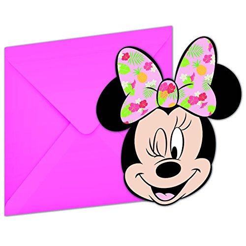 12-teiliges * MINNIE MOUSE - TROPICAL * Einladungskarten-Set für Kindergeburtstag und Motto-Party | bestehend aus 6 Einladungen und 6 Umschlägen | Minni Maus Disney