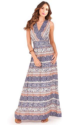 Pistachio -  Vestito  - università - Senza maniche  - Donna Paisley Navy - Blue