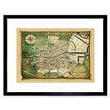 TRAVEL MAPS DUBLIN IRELAND 1780 JOHN JAMESON NEW FRAMED ART PRINT B12X11308
