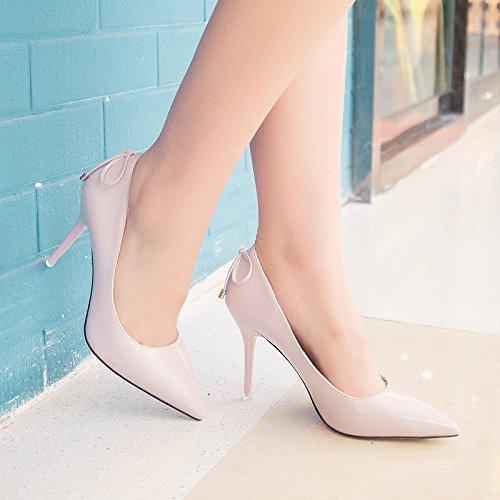 Punta di alta scarpe tacco fine con un night club scarpe arco rosso la fascetta. Light Pink
