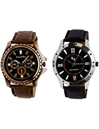 Kajaru KJR-1,10 Round Black Dial Analog Watch Combo For Men (Pack Of 2)