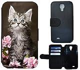 Flip Cover Schutz Hülle Handy Tasche Etui Case für (Samsung Galaxy S4 Mini i9190 i9195, 1251 Baby Katze Kätzchen Grau Weiß)