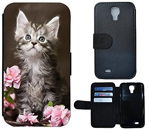Flip Cover Schutz Hülle Handy Tasche Etui Case für (Samsung Galaxy S4 Mini i9190 i9195, 1251 Baby Katze Kätzchen Grau