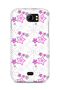 Amez designer printed 3d premium high quality back case cover for Micromax Canvas 2 A110 (Star pink surface texture)