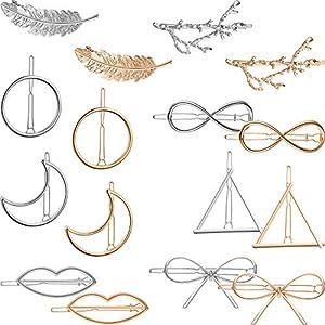 16 Stücke Metall Haarspangen Geometrische Haarnadeln Hohl Haarspangen für Damen Mädchen Haarschmuck