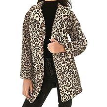 MYMYG Chaqueta Mujer Invierno Chaqueta de Leopardo Espesar Suelto Chaqueta Abrigo para OtoñO Invierno Piel sintética