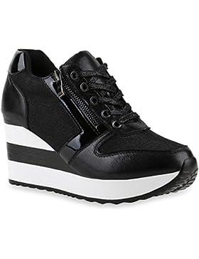 Stiefelparadies Damen Sneaker Wedges Sportschuhe Schnürer Lack Glitzer Turnschuhe Keilabsatz Schuhe Metallic Freizeitschuhe...