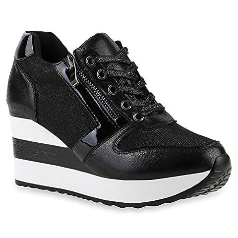 Damen Sneakers Sport Lack Glitzer Sneaker Wedges Metallic Pailetten Plateau Kroko Camouflage Keilabsatz Schuhe 139559 Black 40 |
