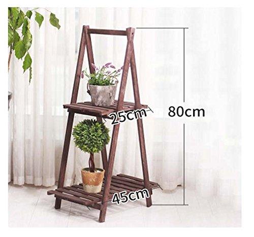 FZN Simple solide bois fleur cadre plancher multicouche pliant balcon salon moderne bonsaï fleur stand Pots de fleurs (Couleur : D)