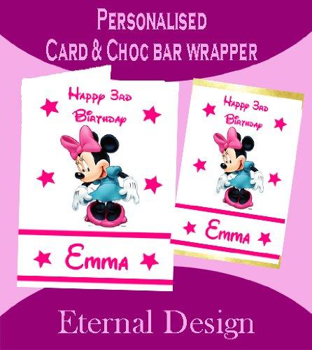 Personalisierte Geburtstagskarte & inkl. passender Schokotafel-Verpackung Minnie Maus