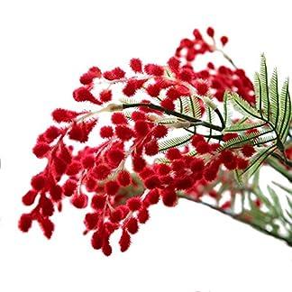 HYLZW Flor Artificial Planta 3 Unids/Lote 3 Ramas De Acacia Artificial Spray De Mimosa Amarillo Flor De Seda Falsa para Fiesta De Boda Decoración De Eventos Planta De Frijol Rojo